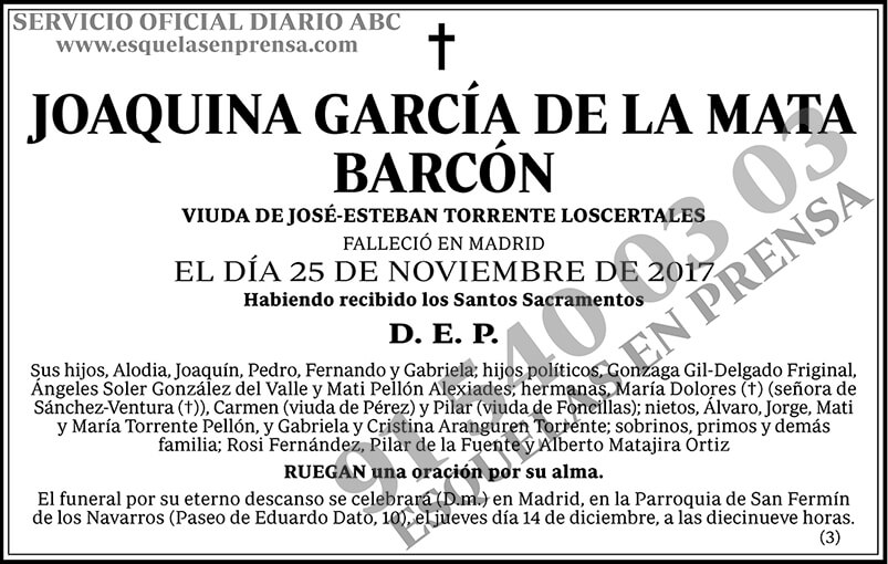 Joaquina García de la Mata Barcón